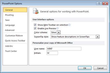 Hình 5.1. Hộp thoại PowerPoint Options